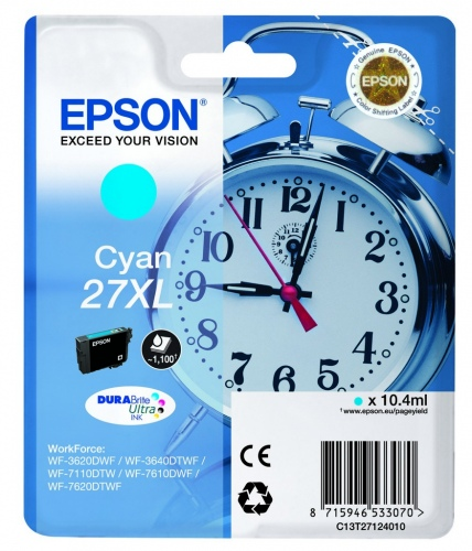 Epson Ink No.27XL Cyan (C13T27124012) 1,1k DURABrite Ultra 27XL
